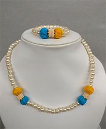 Tiny Closet Pearl Necklace & Bracelet Set - Yellow & Blue