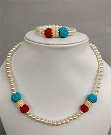 Tiny Closet Pearl Necklace & Bracelet Set - Blue & Red
