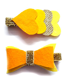 Reyas Accessories Set Of Heart & Bow Alligator Hair Clip - Yellow Orange & Golden