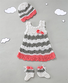 The Original Knit Dress Set With Cap &Booties - Multicolour