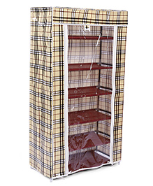 6 Shelves Storage Rack With Cover - Cream And Black