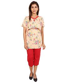 9teenAgain Maternity Nursing Top And Capri Floral Print - Peach Red