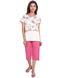 9teenAgain Maternity Nursing Top And Capri Floral Print - White Pink