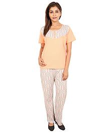 9teenAgain Maternity Nursing Top And Pajama - Peach Grey