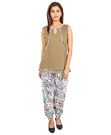 9teenAgain Maternity Nursing Top And Pajama Floral Print - Light Brown Off White
