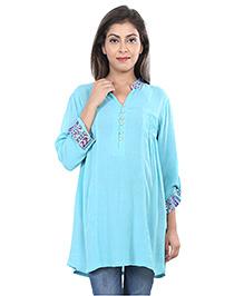 9teenAgain Maternity Nursing Tunic Top - Blue