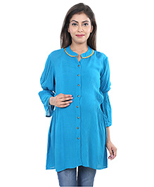 9teenAgain Three Fourth Sleeves Maternity Nursing Tunic Top - Cyan Blue
