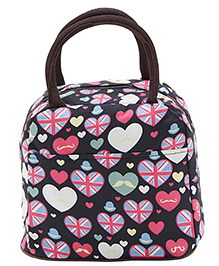 EZ Life Heart Print Lunch Box Bag - Black