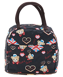 EZ Life Heart And Teddy Print Lunch Box Bag - Black