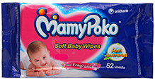 Mamy Poko Soft Baby Wipes 52 pieces Anti bacterial soft baby wipes