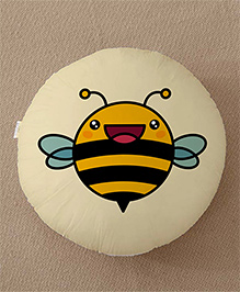 StyBuzz Honey Bee Print Round Cushion - Multi Color