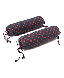 The Baby Atelier Organic Cotton Baby Bolster Polka Dot Cover Set With Fillers - Grey