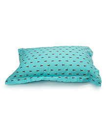 The Baby Atelier Organic Cotton Crab Baby Pillow Cover With Filler - Blue