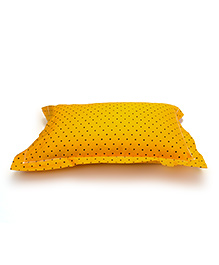 The Baby Atelier Organic Cotton Stars Baby Pillow Cover With Filler - Yellow & Black