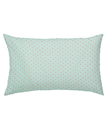 The Baby Atelier Organic Cotton Dots Baby Pillow Cover With Filler - Green & Pink