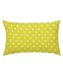 The Baby Atelier Organic Cotton Dots Baby Pillow Cover With Filler - Yellow & White