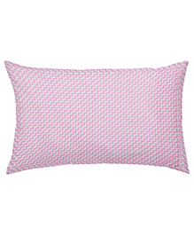 The Baby Atelier Organic Cotton Zig Zag Baby Pillow Cover With Filler - Pink