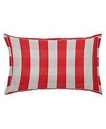 The Baby Atelier Organic Cotton Stripe Baby Pillow Cover With Filler - Red & White