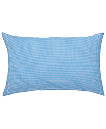The Baby Atelier Organic Cotton Checks Baby Pillow Cover With Filler - Blue