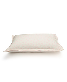 The Baby Atelier Organic Cotton Dots Baby Pillow Cover With Filler - White & Pink