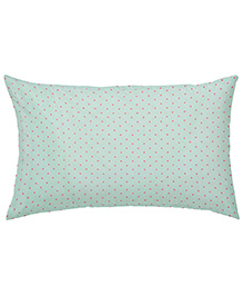 The Baby Atelier Organic Cotton Dots Baby Pillow Cover Without Filler - Green & Pink