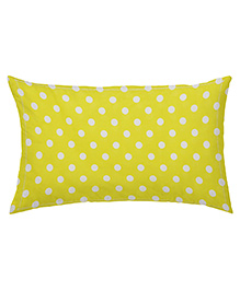 The Baby Atelier Organic Cotton Dots Baby Pillow Cover Without Filler - Yellow & White