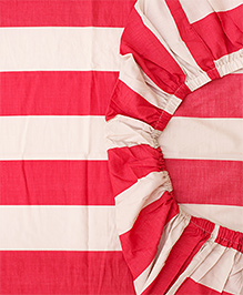 The Baby Atelier Organic Cotton Stripe Fitted Crib Sheet - Red & White