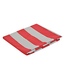 The Baby Atelier Organic Cotton Stripe Flat Sheet Regular Single - Red & White