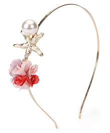 Treasure Trove Flower With Pearl Hair Band - Orange & Pink