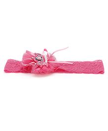 Treasure Trove Stylish Lace Hair Band - Dark Pink