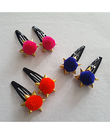 Soulfulsaai Pompom Clips Set Of 3 Pairs - Pink Red & Blue