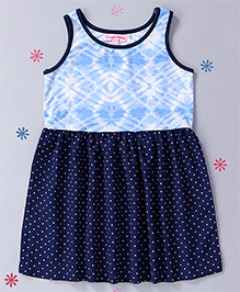 CrayonFlakes Tie Dye Bodice Dress With Polka Dot Print - Navy Blue