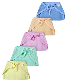 Tinycare Cotton Baby Nappy Muticolored Medium - Set of 5