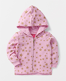 Button Noses Full Sleeves Hooded Sweat Jacket Star Design - Light Pink