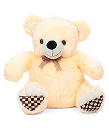 Liviya Teddy Bear Soft Toy With Checks Pawn Cream - Height 54 Cm