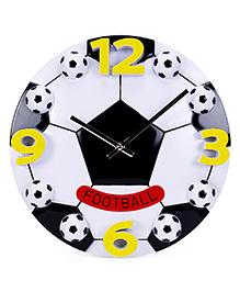 Foot Ball Print Wall Clock - White+Black