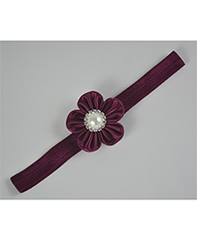 Little Miss Cuttie Flower Design Pearl Applique Headband - Maroon