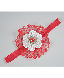 Little Miss Cuttie Floral Design Lace Applique Headband - Red