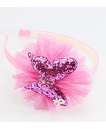 Pihoo Hair Band Butterfly Applique - Pink