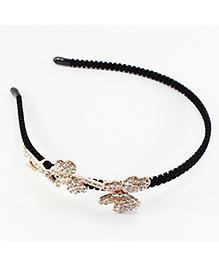 Pihoo Hair Band Diamond Butterfly Applique - Golden