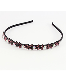 Pihoo Hair Band Crystal Stone Design - Pink
