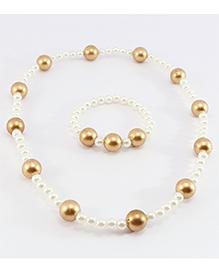 Pihoo Necklace & Bracelet Combo - White & Golden