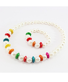 Pihoo Necklace & Bracelet Combo With Wooden Beads - Off White & Multicolor