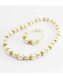 Pihoo Pearl Necklace & Bracelet Combo - Off White & Golden