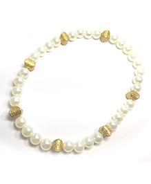 Pihoo Necklace & Bracelet Combo - Off White & Golden