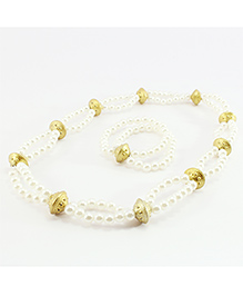 Pihoo Double Layered Necklace & Bracelet Combo - White & Golden