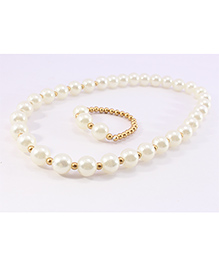Pihoo Dual Color Necklace & Bracelet Combo - White & Golden