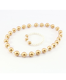 Pihoo Necklace & Bracelet Big And Small Pearls Combo - Off White & Golden