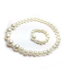Pihoo Big & Small Necklace & Bracelet Combo  - White & Golden