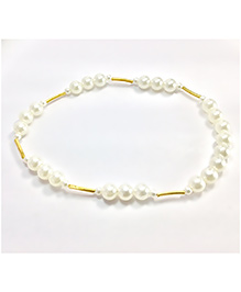 Pihoo Golden Pipe Necklace - Off White & Golden